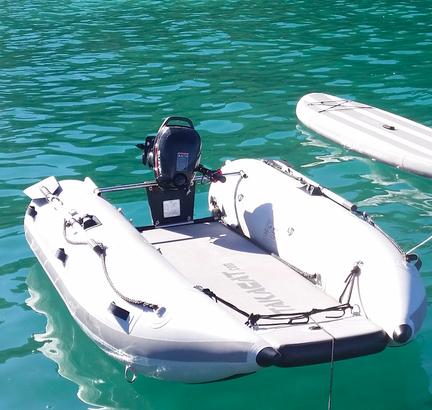 VERKAUFT! Katamaran Schlauchboot TAKACAT T380LX inkl. Slipräder etc. – NEU!